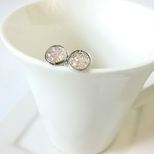 Light Pink Druzy Silver Stud Earrings